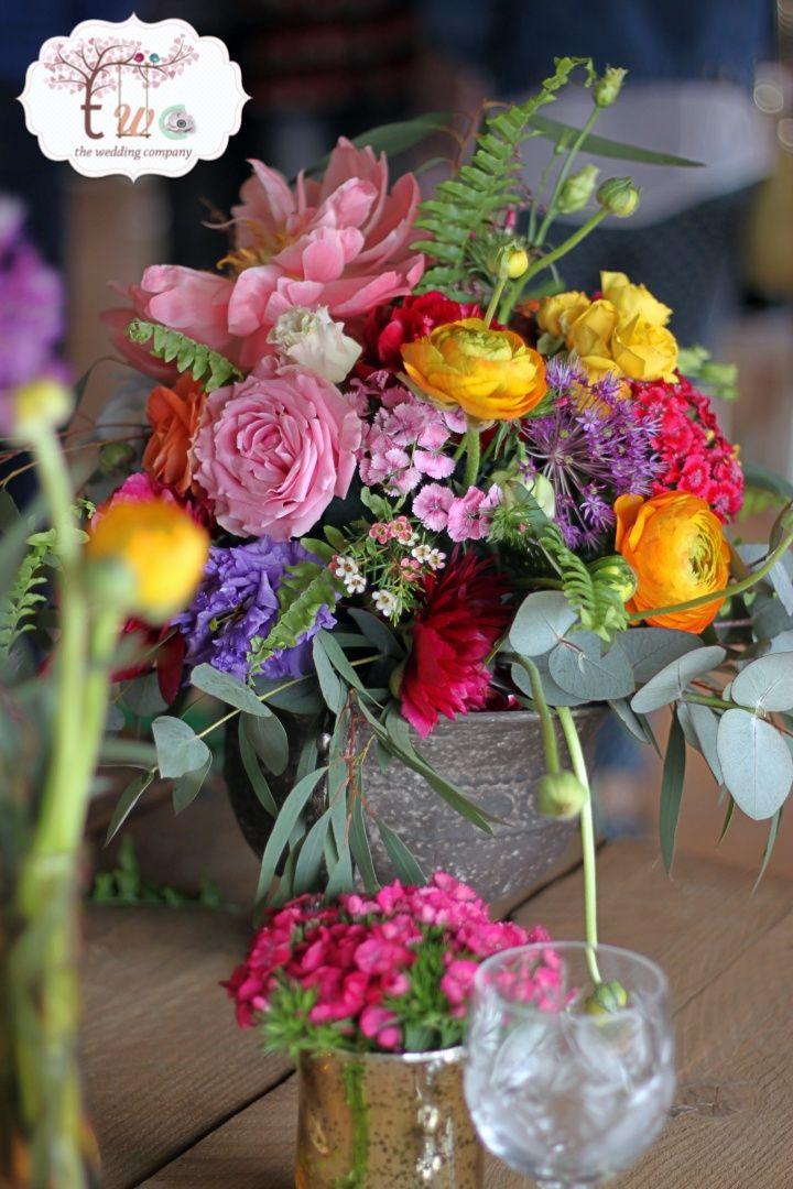 Coloured boho style centerpiece