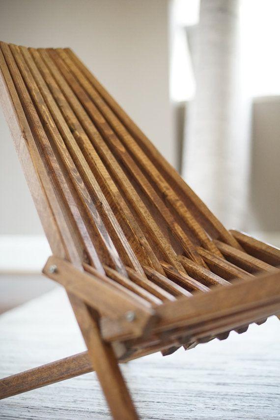 Kentucky Stick Chair, Dark Walnut Finish, Outdoor Furniture, Folding Patio Chair, Deck Furniture, Belize Chair, Camping, Beach, Lawn, Porch