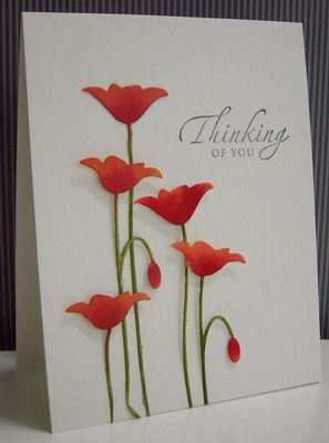 Poppies using die cut 7 reinker spread technique/Stamping with Loll  (Memory Box Prim Poppy)
