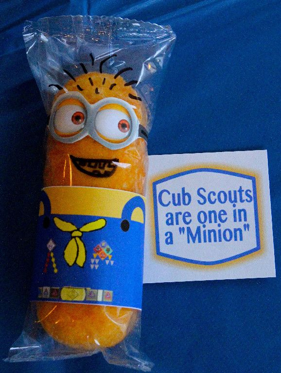 "Cub Scout Twinkie Minions ""You're one in a Minion"" from Despicable Me - Great Table Decoration for the Blue & Gold Banquet. This site has a lot of great neckerchief slide ideas and also other great Cub Scout Ideas compliments of Akelas Council Cub Scout Leader Training: Utah National Parks Council has planned this exciting 4 1/2 day Cub Scout Leader Training. This fast-paced and inspiring training covers lots of Cub Scout Info and Webelos Outdoor Experience, Cub Scouts with ..."