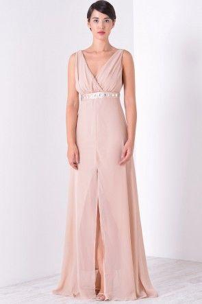 Daisy Diamante Belt Maxi Dress in Blush