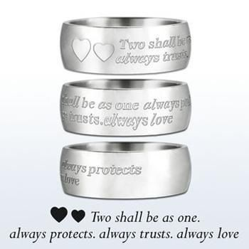 Style Sanctuary  - Stainless Steel Wedding Ring with Words of Love Inscription…