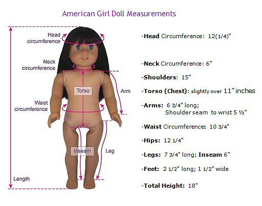 American Girl Doll (18 in.) measurements for making clothing/jewelry