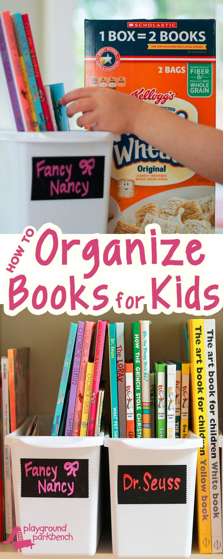 Can't find your child's favorite bedtime story in the mess of books on their shelves? A simple strategy to organize books that will help your kids keep them that way! And…