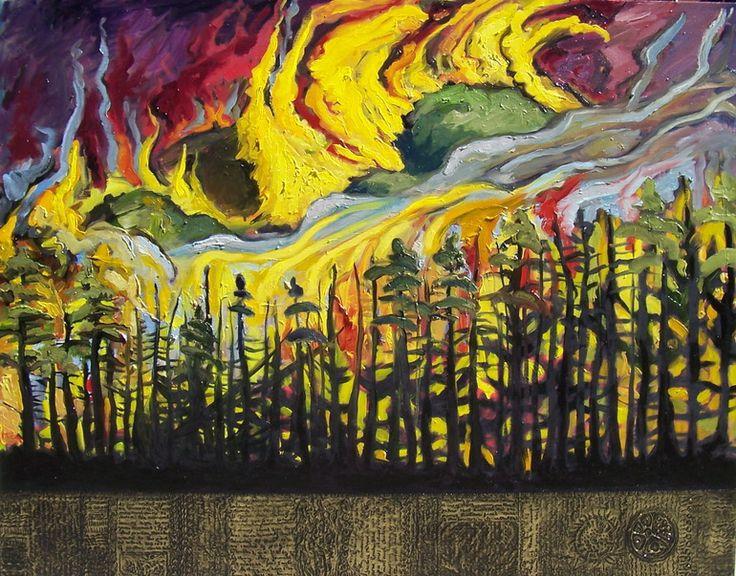 "Saatchi Online Artist: Suzanne Tevlin; Oil, Painting ""Burning Mountain: Wild Fire (The Darwin Series)"""