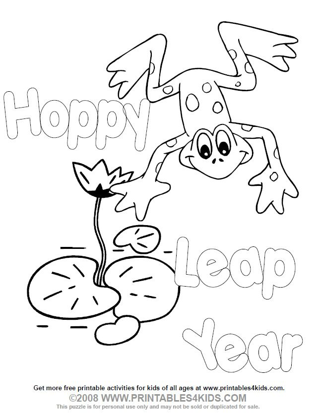 Printable Leap Year Coloring Page : Printables for Kids – free word search puzzles, coloring pages, and other activities