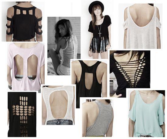 Coco ????: DIY T- Shirt Redesign Ideas (part 2)--DIY T- Shirt Redesign : shredded / laser-cutting (cut