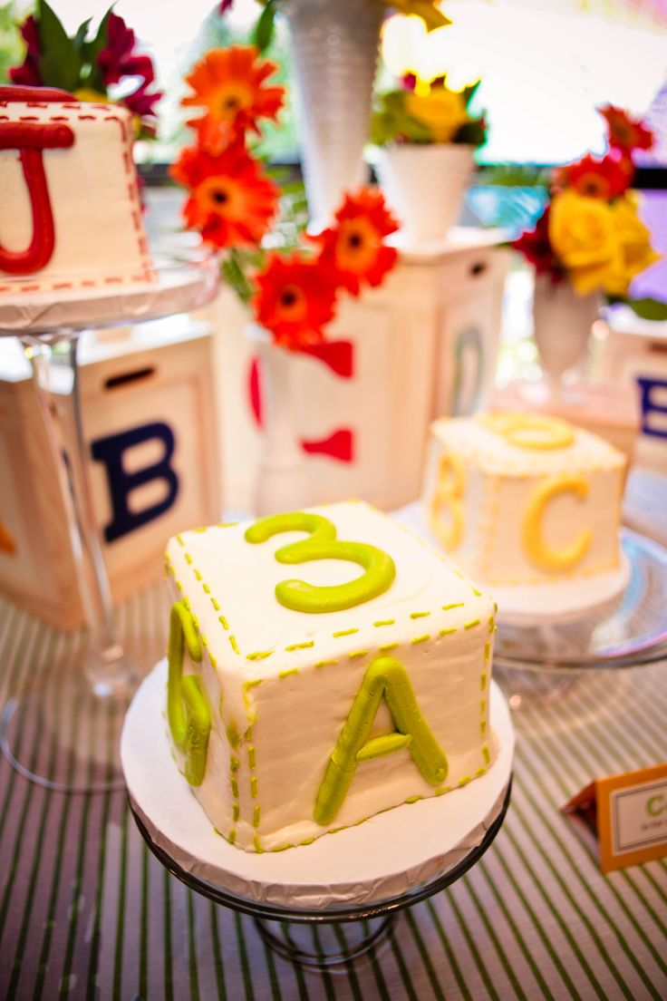 #Alphabet baby shower theme cakes #ABC