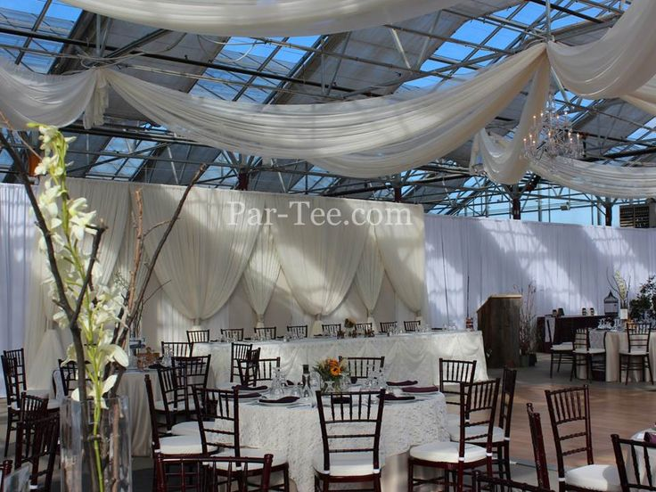 Lace Wedding Featuring Custom Backdrop and Ceiling Draping
