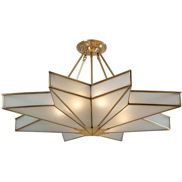 Modern Maple-Leaf Shape Brass Copper Semi Flush Mount (12.750 CZK) ❤ liked on Polyvore featuring home, lighting, ceiling lights, brass light, modern shades, modern semi flush ceiling lights, yellow light and modern lighting