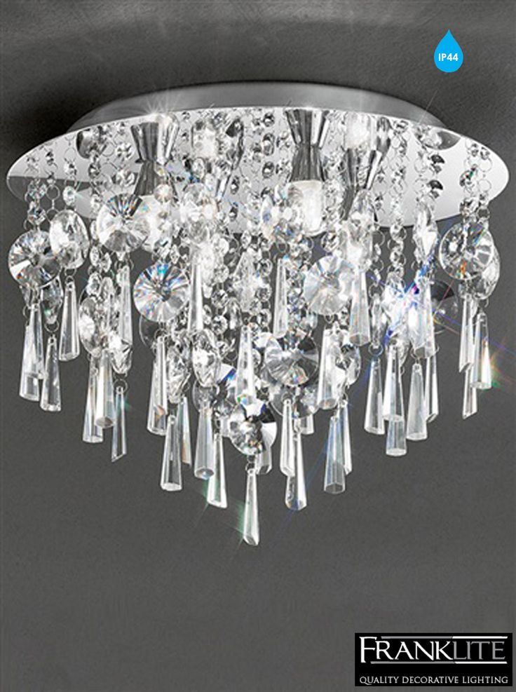 Franklite Jazzy 400mm Glass & Chrome 4 Light Flush IP44 Rated Bathroom Ceiling Fitting - CF5719 None
