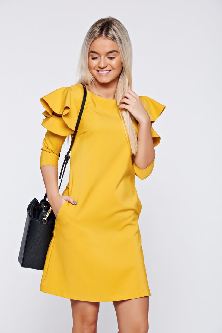 LaDonna easy cut mustard elegant dress with ruffled sleeves, 3/4 sleeves, Ruffled sleeves, back zipper fastening, easy cut, without clothing