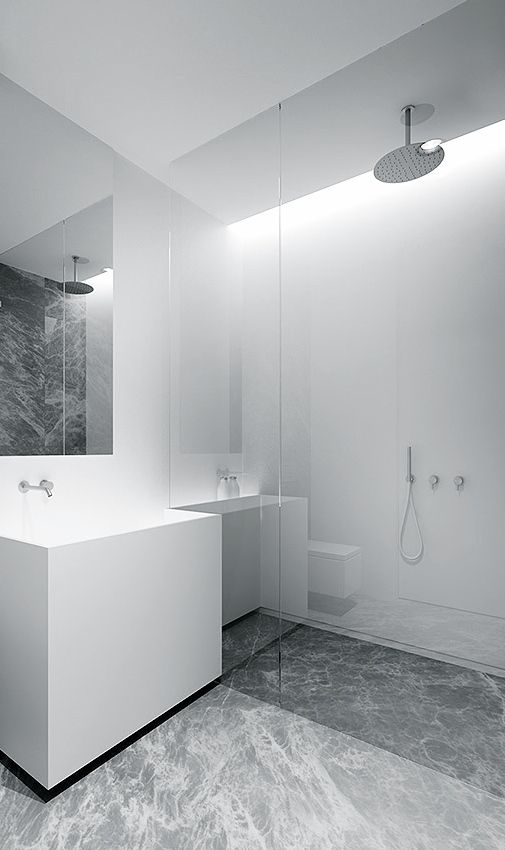 "Modern bathroom inspiration bycocoon.com | sturdy stainless steel bathroom taps | bathroom washbasins and cabinets | Have a look at the ""MonoSet"" and ""Rain"" showersets by COCOON 