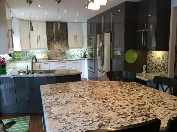 IKEA Ringhult grey and white kitchen with granite countertops and backsplash