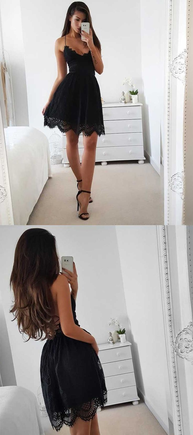 Spaghetti Straps Homecoming Dresses,backless homecoming dress,short black lace homecoming dress,sexy homecoming dresses,black casual dress ,little black dresses,short black prom dress under 100,simple homecoming dresses short,cheap homecoming dresses