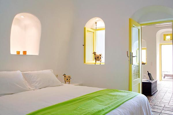 White Alcoves  Built Bed  Tiles  Hotel Bedroom  Honeymoon  Sunset  Imerovigli  Santorini