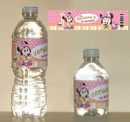 Baby minnie mouse 1st birthday water bottle labels for Buy water bottle labels