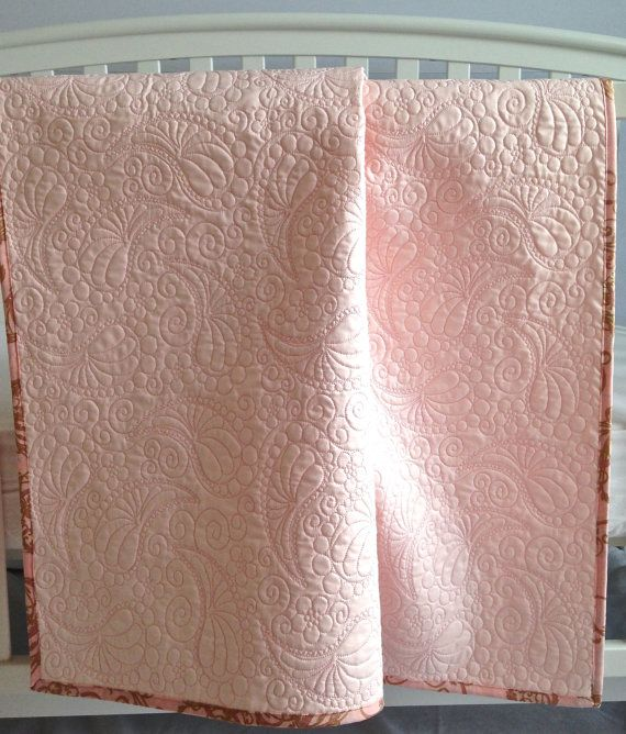 Whole Cloth Baby Quilt with Paisley Quilting Custom Quilt Heirloom Wedding Christening Baptism Bed Quilt Pink White Ivory