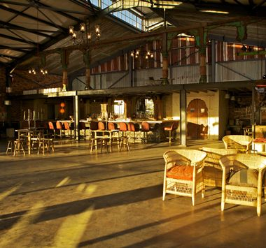 Katys Palace Bar, industrial barn feel with a view over sandton