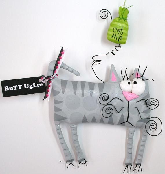 Kitty named OLIVE with cat nip by buttuglee on Etsy