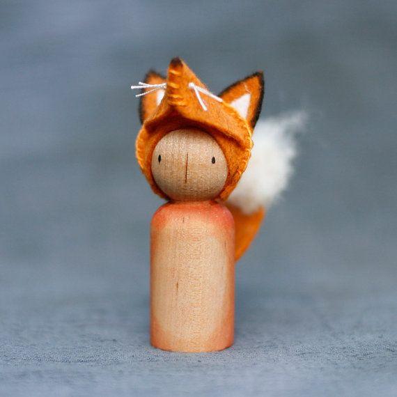 Crafty Fox Peg Doll Waldorf Inspired by BeetleAndFern on Etsy, $14.00