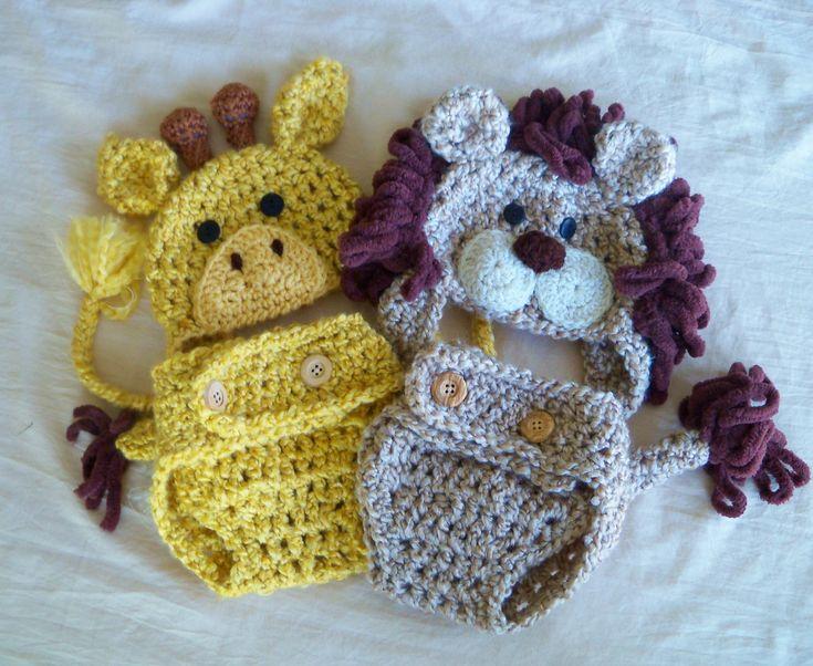 Lion and Giraffe Cover Set - Twin Halloween Costumes - Baby Lion and Giraffe Hat - Halloween Costume -  by JoJosBootique. $72.00, via Etsy.