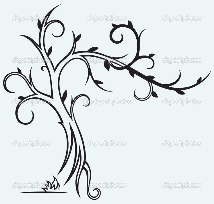 силуэт дерева контур - Поиск в Google