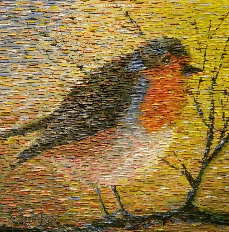 "impressionist birds by Chris Quinlan Art 12x12"""