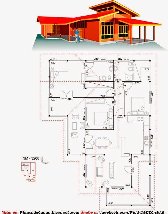 Mejores 16 im genes de planos casa en pinterest casa for Disenos y planos de casas prefabricadas