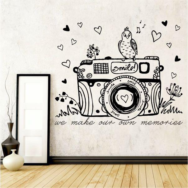 whimsical camera vinyl wall art