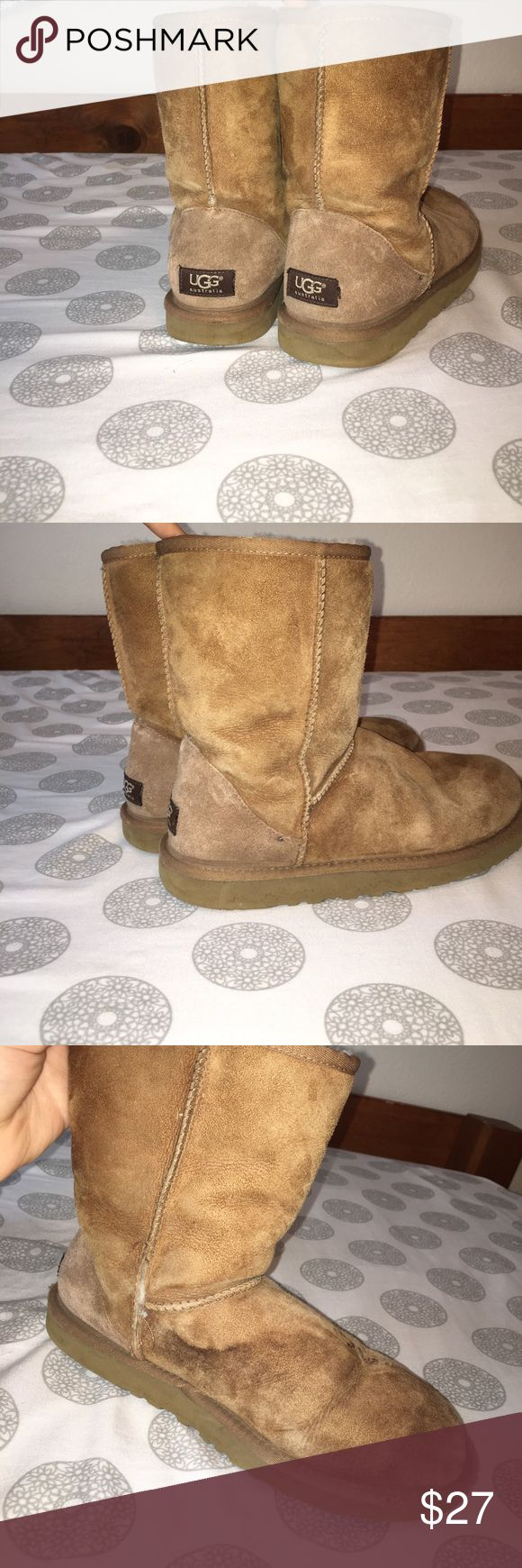 Chestnut uggs Cozy chestnut uggs. They are fairly worn, and the left shoe has a water mark but with the right materials you can get it off. The stitching also came undone on that boot, but can be fixed. The fur inside is still in good condition too. The price reflects how worn they are, and I'm open to price negotiations!p UGG Shoes Winter & Rain Boots