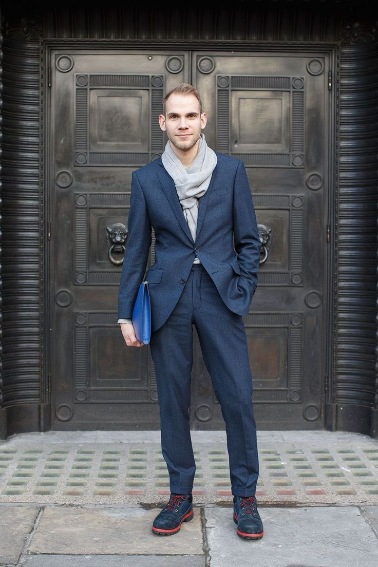 Wearing a Richard James suit and scarf; John Smedly knit; Timberland for Opening Ceremony shoes and Anya Hindmarch folio.