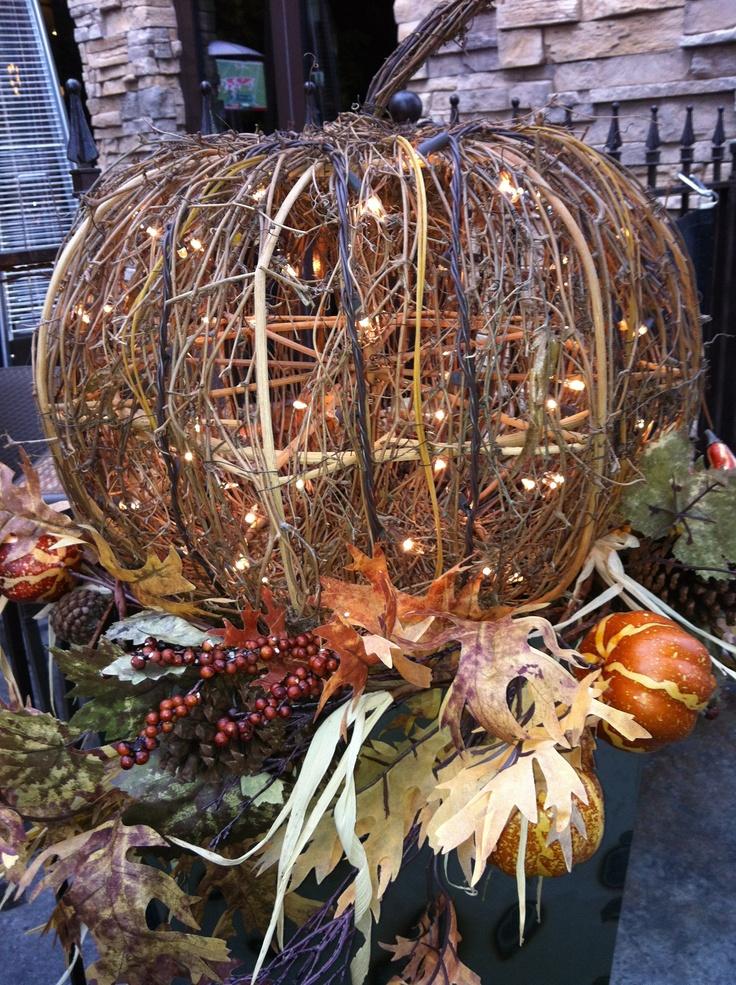 Lighted Wicker Pumpkin Fall Planter    So Festive!