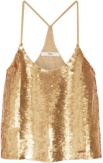 Tibi - éclair Sequined Silk-georgette Camisole - Gold