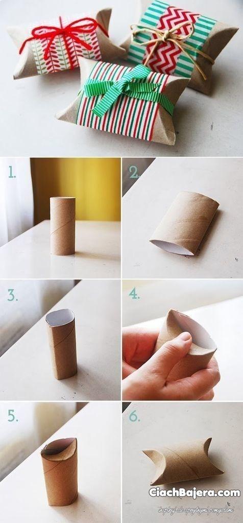 pudełeczko na prezent z rolki po papierze toaletowym