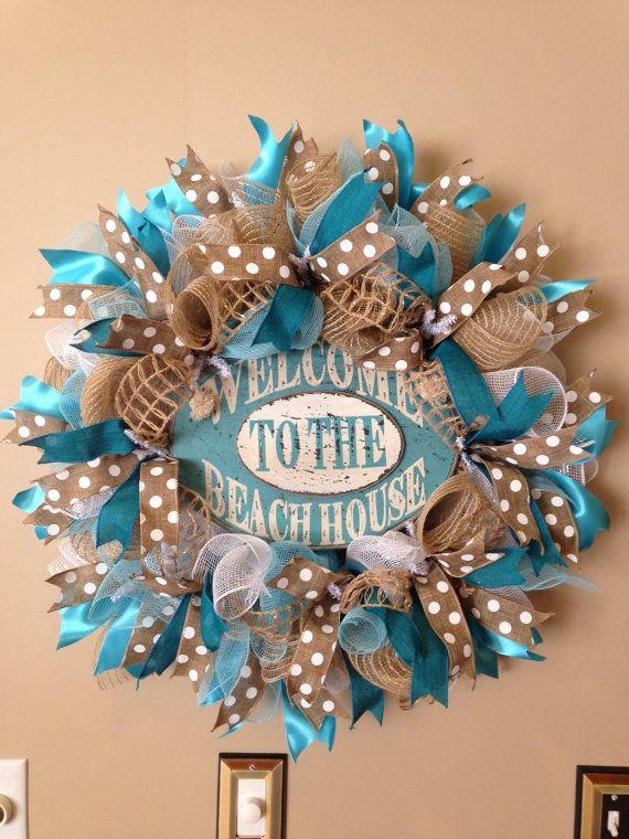 Summer Deco Mesh Wreath Beach Wreath Beach by BayWreathDesigns