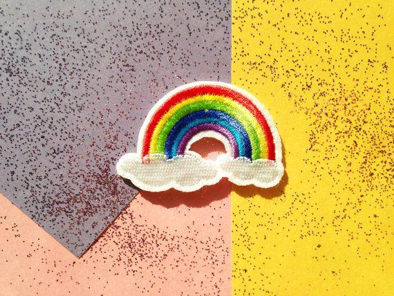 Patch écusson arc en ciel et nuages rainbow and clouds