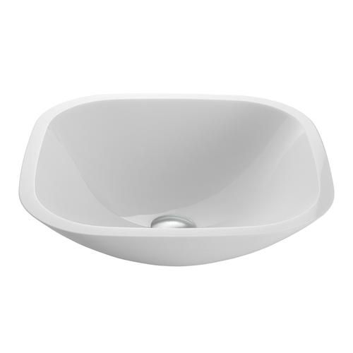 Vigo square shaped white phoenix stone glass vessel for Master bathroom vessel sink