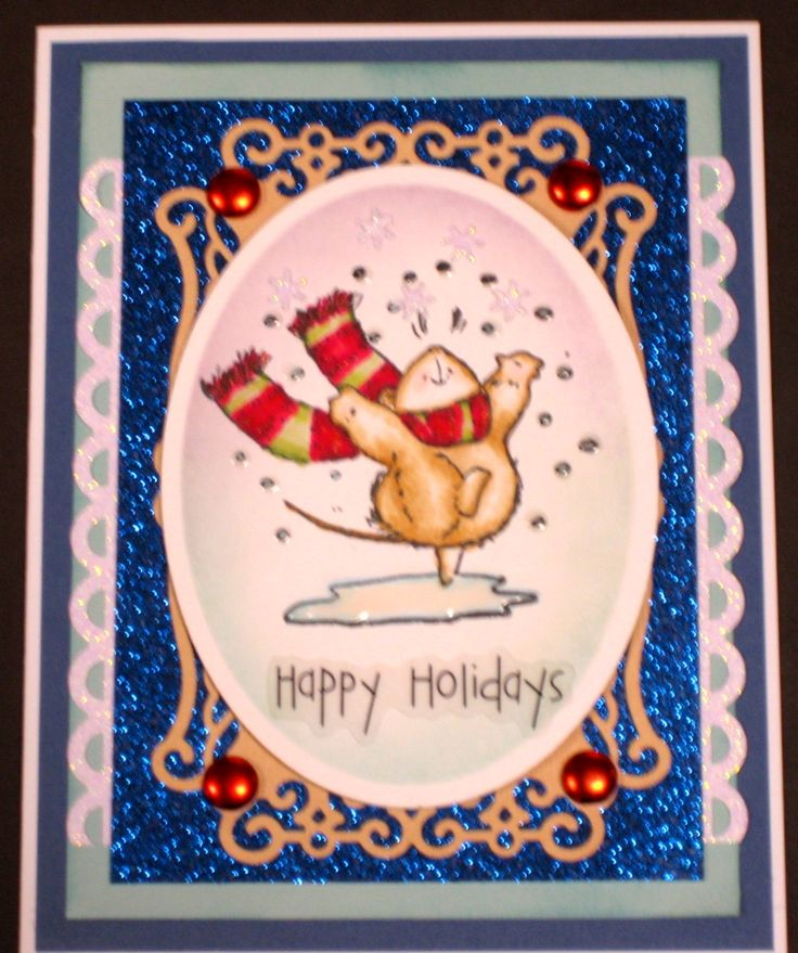 This card was made for the Penny Black November Anything Goes Challenge, the 7kidscollegefund challenge #112 and the Scrapyland #5 challenge. Used Spellbinder Oval die to cut central image and the Spellbinders A2 Valiant Honor die to cut the cream decorative mat below.