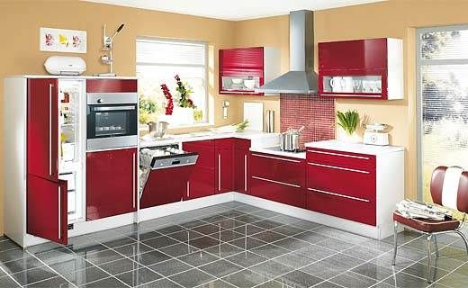 Kitchen designs red style of the l shaped kitchen for Contemporary l shaped kitchen designs