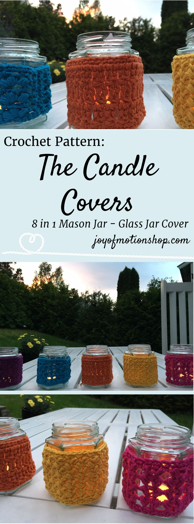 The Candle Covers - 8 in 1 crochet pattern. Crochet pattern for candle covers. Easy & quick. Perfect one day DIY project. You will need a Mason Jar or a glass jar & some scrap yarn. Gift idea for her. | crochet candle covers | mason jar cover crochet | glass jar candle cover | crocheted glass jar cover | diy glass jar cover | scrap yarn project. Click to purchase or repin to save it forever.