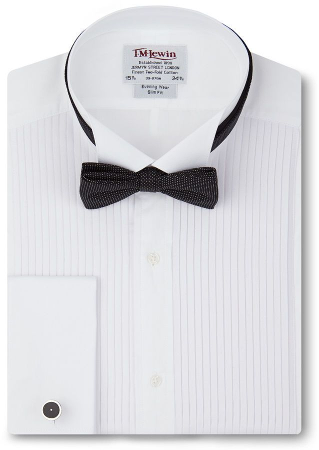 T.M.Lewin Slim Fit Pleated Wing Collar Tuxedo Shirt