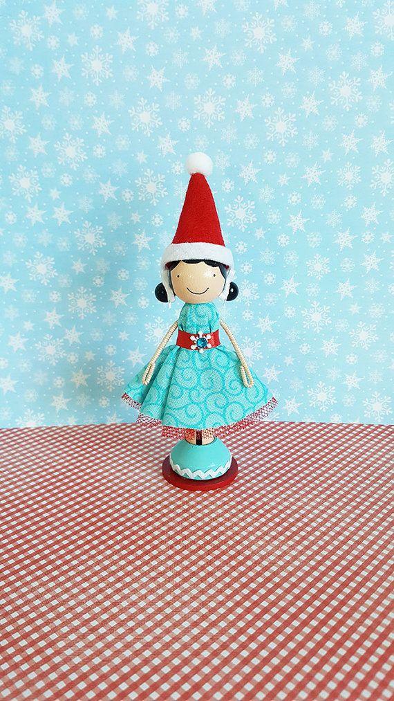 SugarlandDollHouse...Allie Elf Christmas Miniature Wooden Clothespin Doll