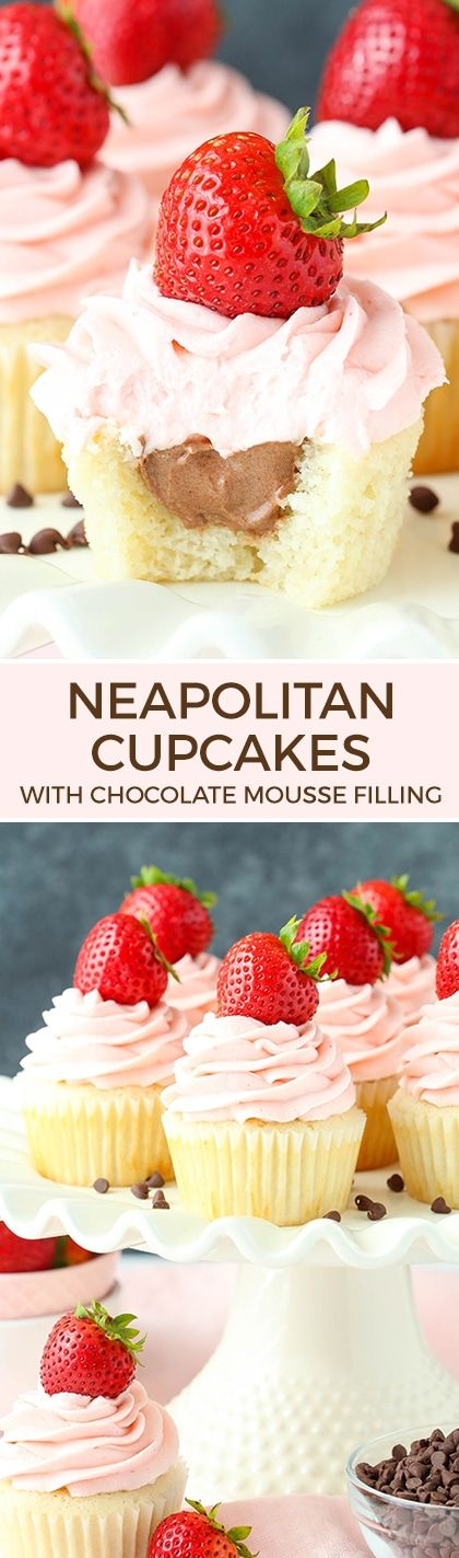 Neapolitan Cupcakes - moist vanilla cupcakes, chocolate mousse filling, strawberry frosting!