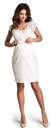 Magic cream торжественное ьелое платье с кружевной вставкой для будущих мам