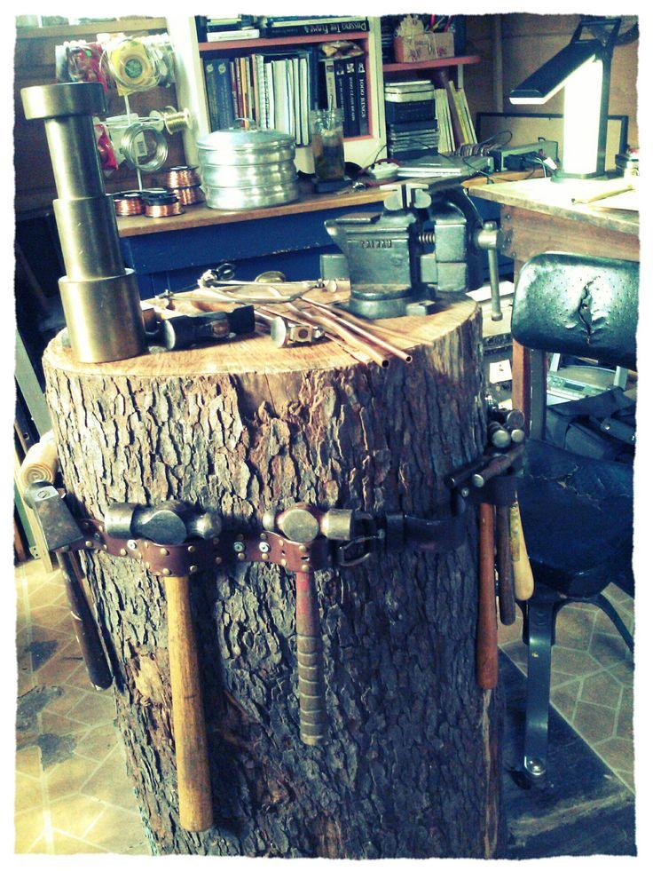 stump bench @ Stephanie Distler Artisan Jewelry www.stephaniedistler.com