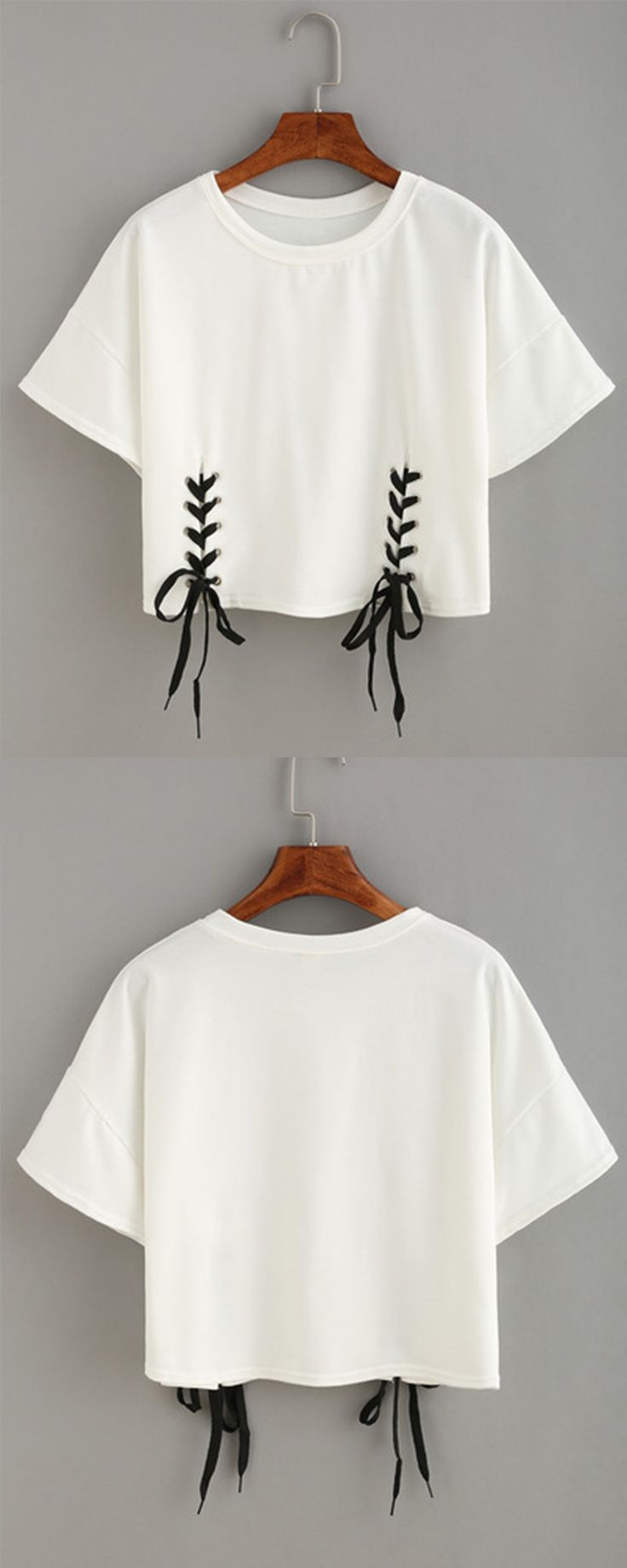 Double Lace-Up Hem Crop T-shirt                              …