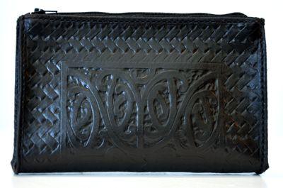 Maori Design Patrick James Kura Gallery New Zealand Design Carved Leather Kowhaiwhai Zip Purse