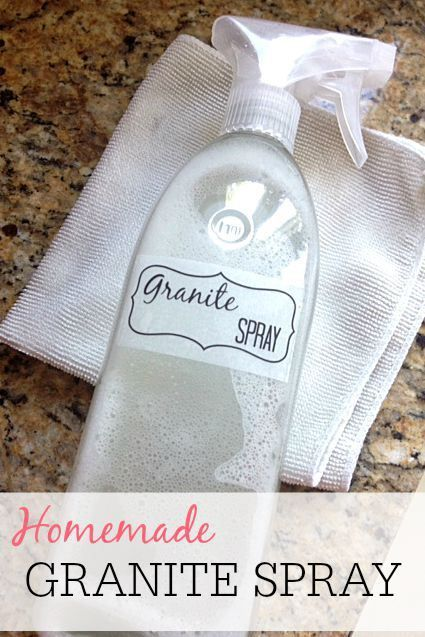 Don't overpay for granite cleaner. This homemade granite spray is so easy to make. It will save you money and get the counters shiny clean.