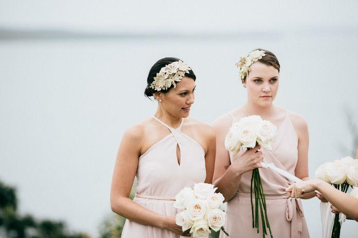 Linda's bridesmaids wearing Natalie Chan golden lace guipure headpieces.
